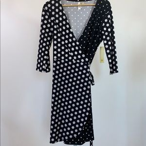 TACERA Polka Dot Wrap Dress Black/White NWT SZ M